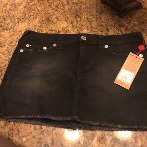 True Religion Black Denim Skirt
